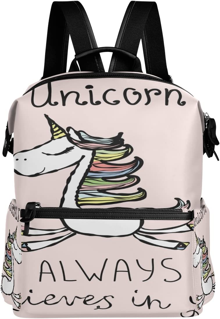 Laptop Backpack Lightweight Waterproof Travel Backpack Double Zipper Design with Cartoon Flying Unicorn School Bag Laptop Bookbag Daypack for Women Kids