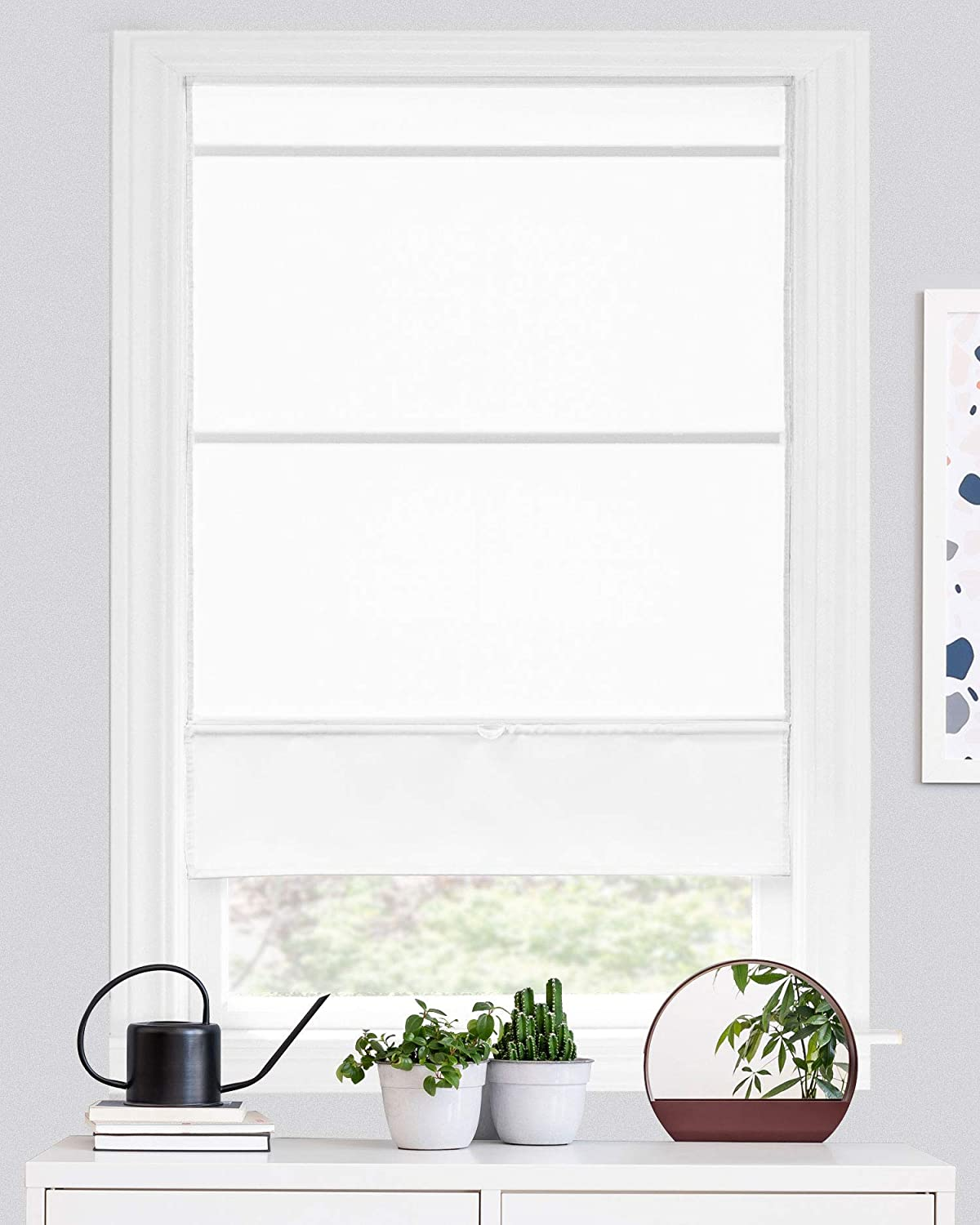 "CHICOLOGY Magnetic Roman Shades, Fabric Window Treatment It's Perfect for Dining Room/Bedroom/Kitchen/Office and More, 31"" W X 64"" H, Runway White (Light Filtering)"