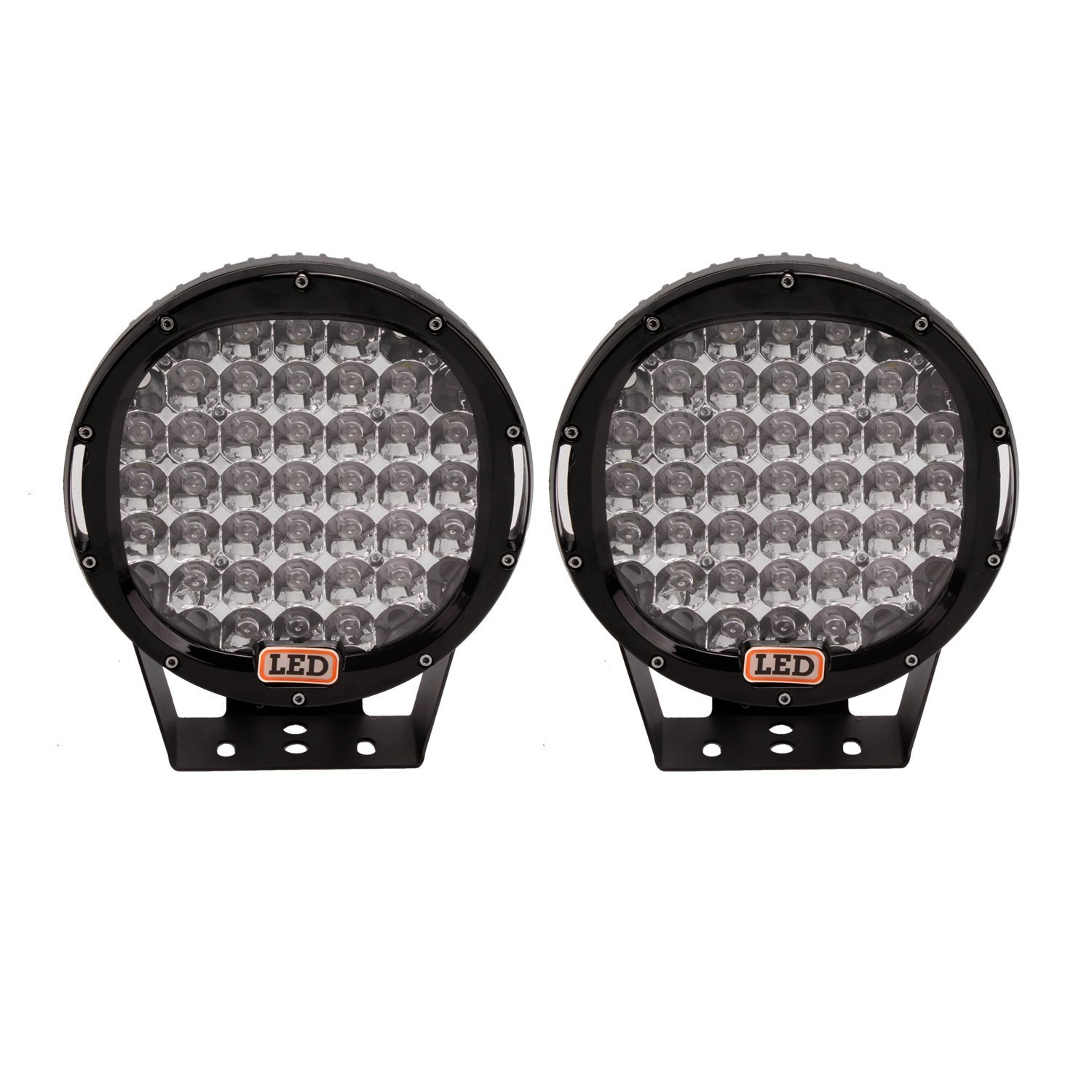 """2X 9/"""" inch 185W LED Work Light Round Flood For Driving Black Lamp JEEP Ford New"""