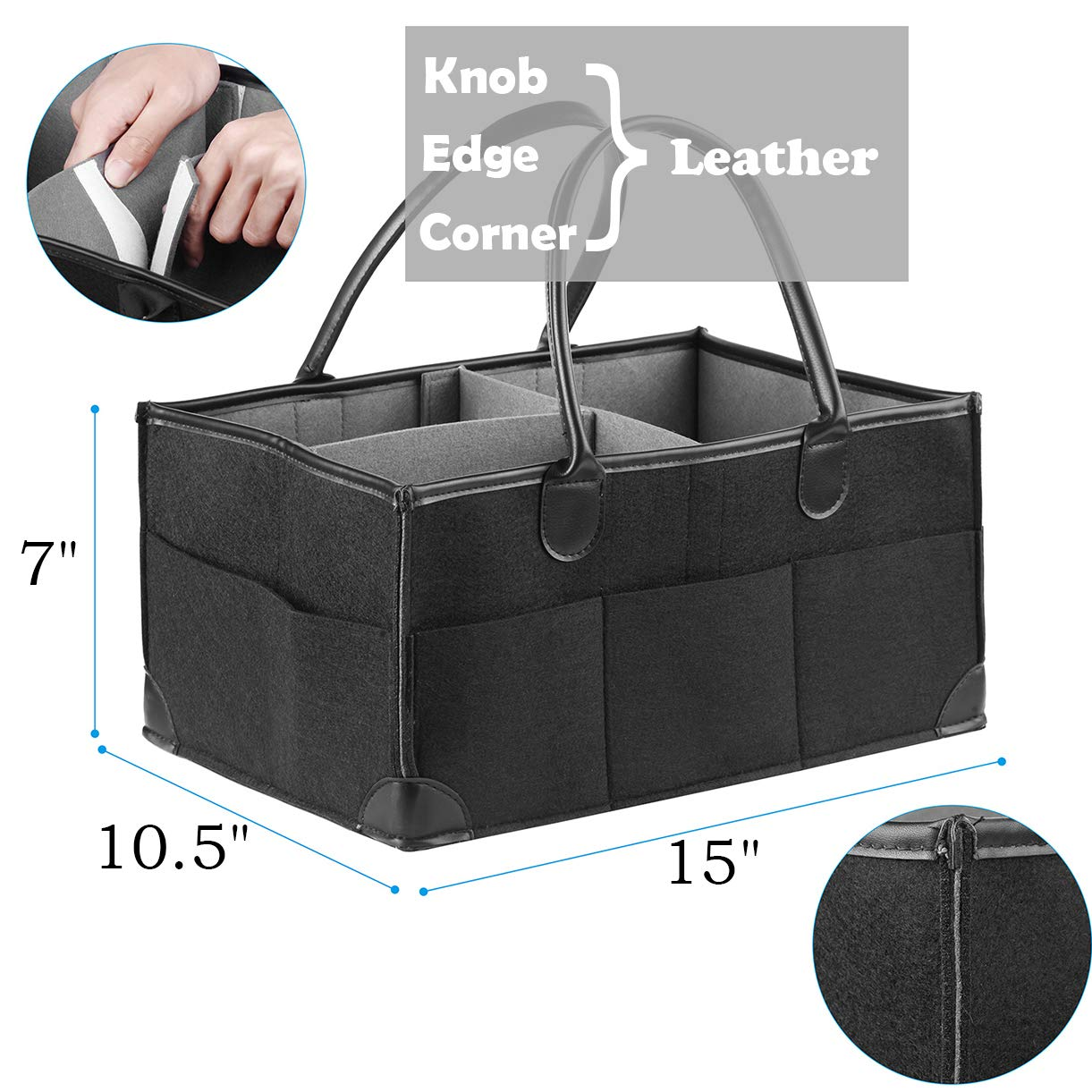 Baby Diaper Caddy Organizer,Portable Baby Products Storage Bag,High Volume Container,Suitable for Nursery,Car-Black