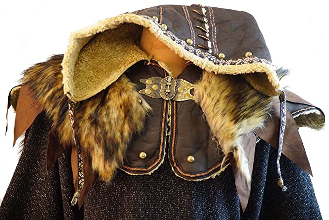 Pirate-Reenactment-Larp-Sca-Cosplay-Medieval- ORNATE LEATHER HOOD