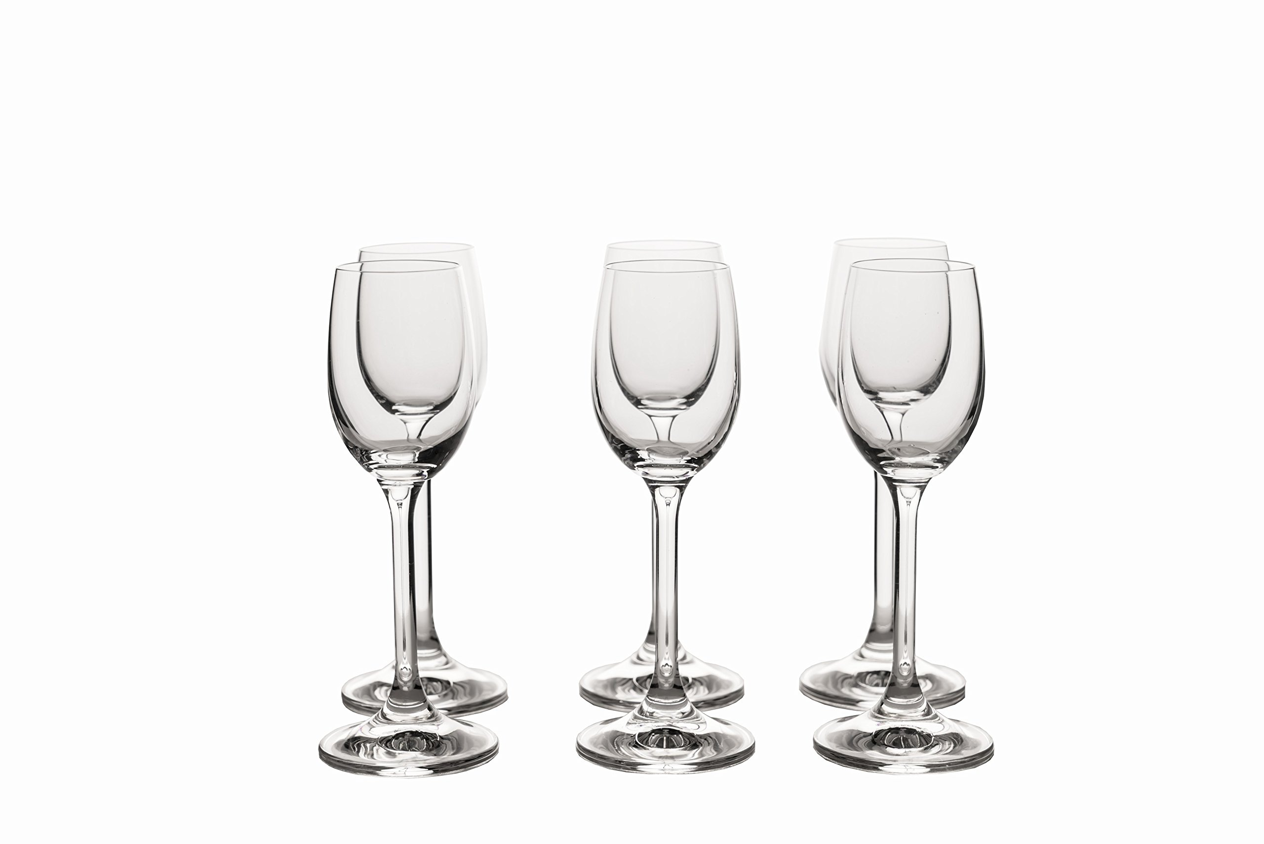 Crystal Clear Liquor Drinking Shot Glasses Set of 6 / Hard, Small, Durable and Cool / Premium Bohemia Glass / 2.1 ounces / 65 milliliters