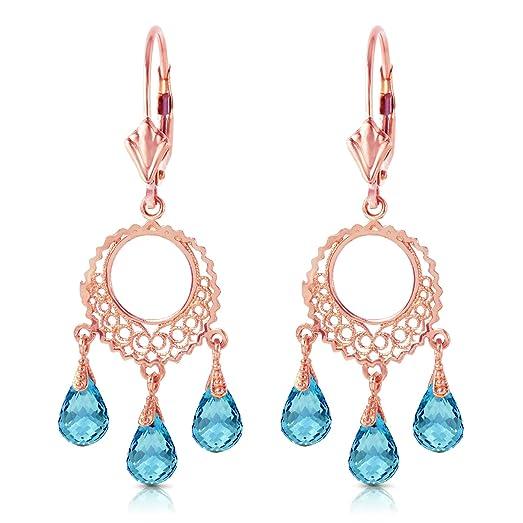 Amazon 14k rose gold blue topaz chandelier earrings jewelry 14k rose gold blue topaz chandelier earrings mozeypictures Gallery