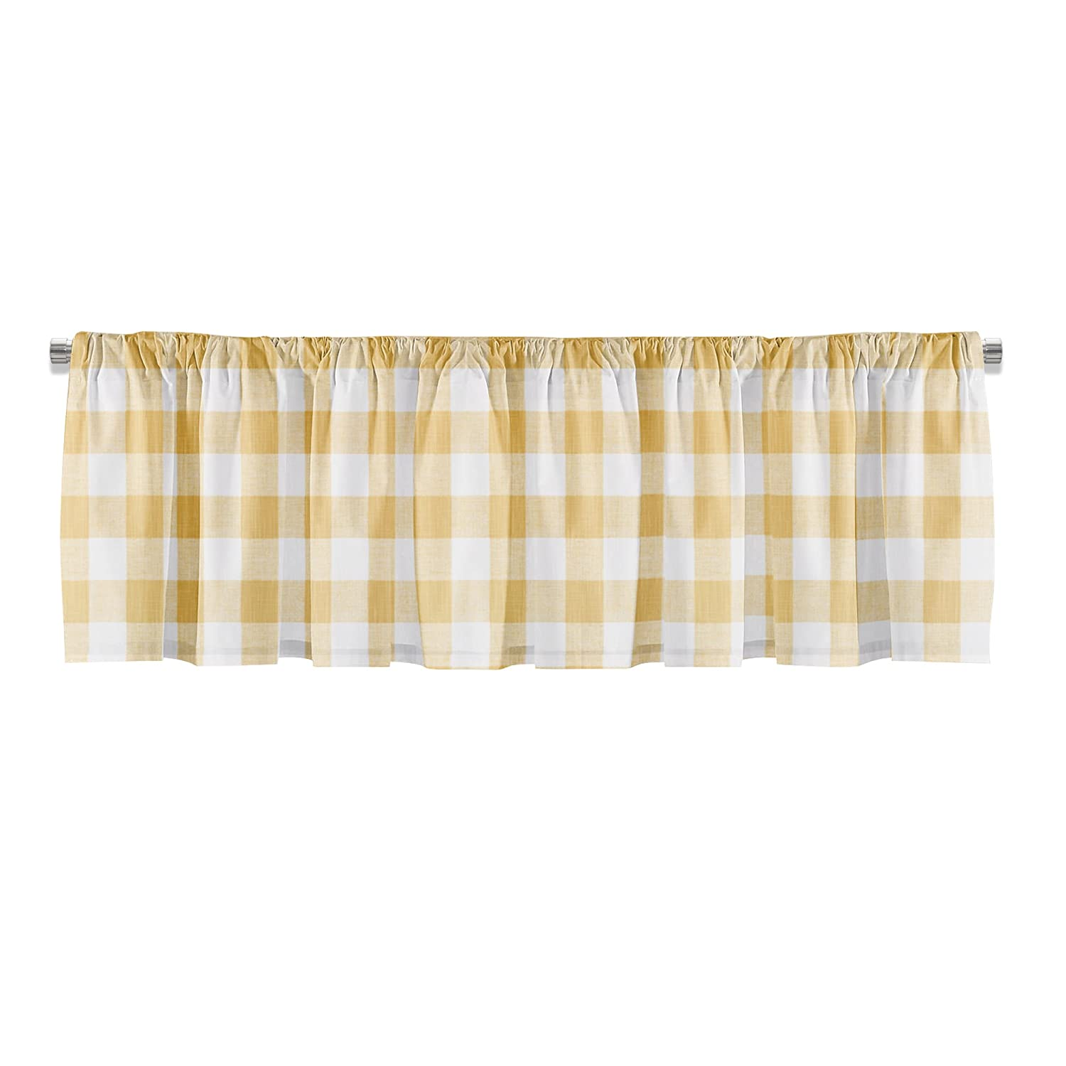 Appleberry Attic Made to Order Window Treatments, Yellow Bathroom Curtains for Farmhouse, Kitchen Window Valance, Yellow Curtain Panels, Buffalo Check Valances - Made in USA