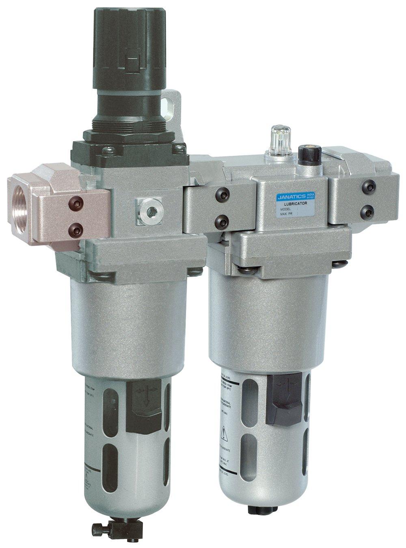 "1/""NPT Thread Janatics FRCLM179534//W Filter Regulator Combination with Lubricator Modular with Wall Mounting Bracket 40Micron,145 psi Polycarbonate Bowl"