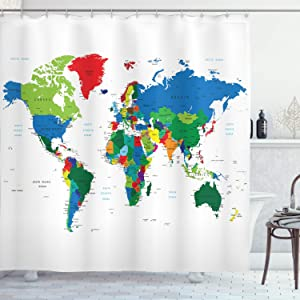 "Ambesonne World Map Shower Curtain, Colorful Political Map Borders Between Countries Different Nations and Cultures, Cloth Fabric Bathroom Decor Set with Hooks, 70"" Long, Multicolor"