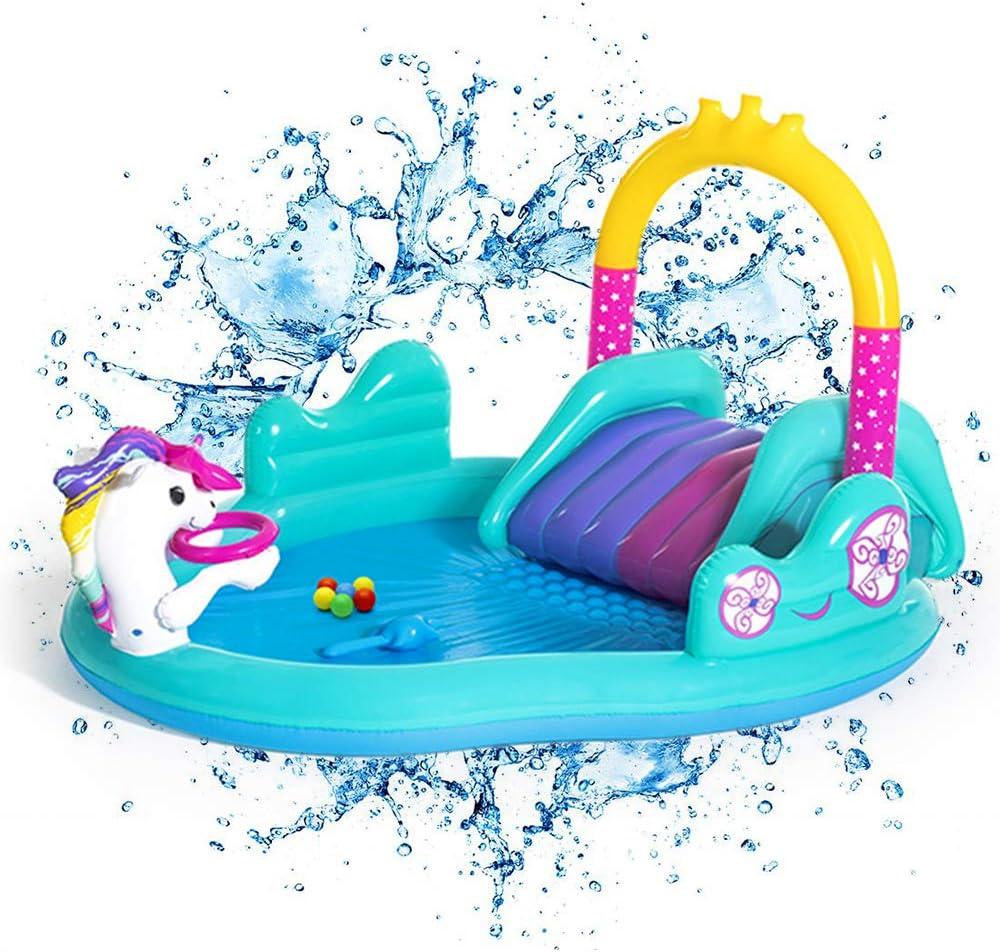 Inflable Natación del Bebé Piscina para Niños con Tobogán Y Agua Rociador - Ideal para Jardín Al Aire Libre Diversión para Niños De Los Niños 274x198x137cm: Amazon.es: Hogar