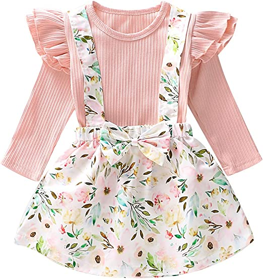 KIDSA 1-6T Baby Toddler Girl Summer Clothes Ruffles Off The Shoulder Tops Thin Bell-Bottom Pants Vintage Outfits Set