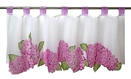Gardinenbox Hortensias para cocina y Salón Primavera de verano – Cortina  con diseño de flores 45 x 120 cm Moderno Transparente Bistro cortina para  ... 3fd8e0baf9e3