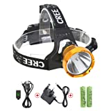 Neolight Rechargeable Headlamp, Super Bright Waterproof CREE T6 LED Head Torch Headlight Flashlight for Outdoor Walking Running Cycling Fishing Climbing Camping Hiking Mining (W01)