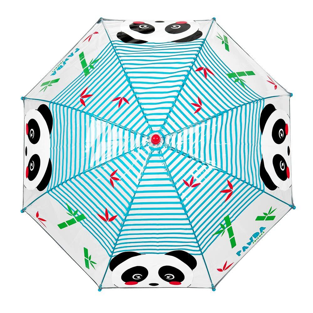 Kleine M/ädchen Jungen Stockschirm f/ür 3//6 Jahren Panda Regenschirm Transparent f/ür Kinder Durchsichtig Kinderschirm mit Reflektierenden Details und Glasfaser Perletti Durchmesser 64 cm
