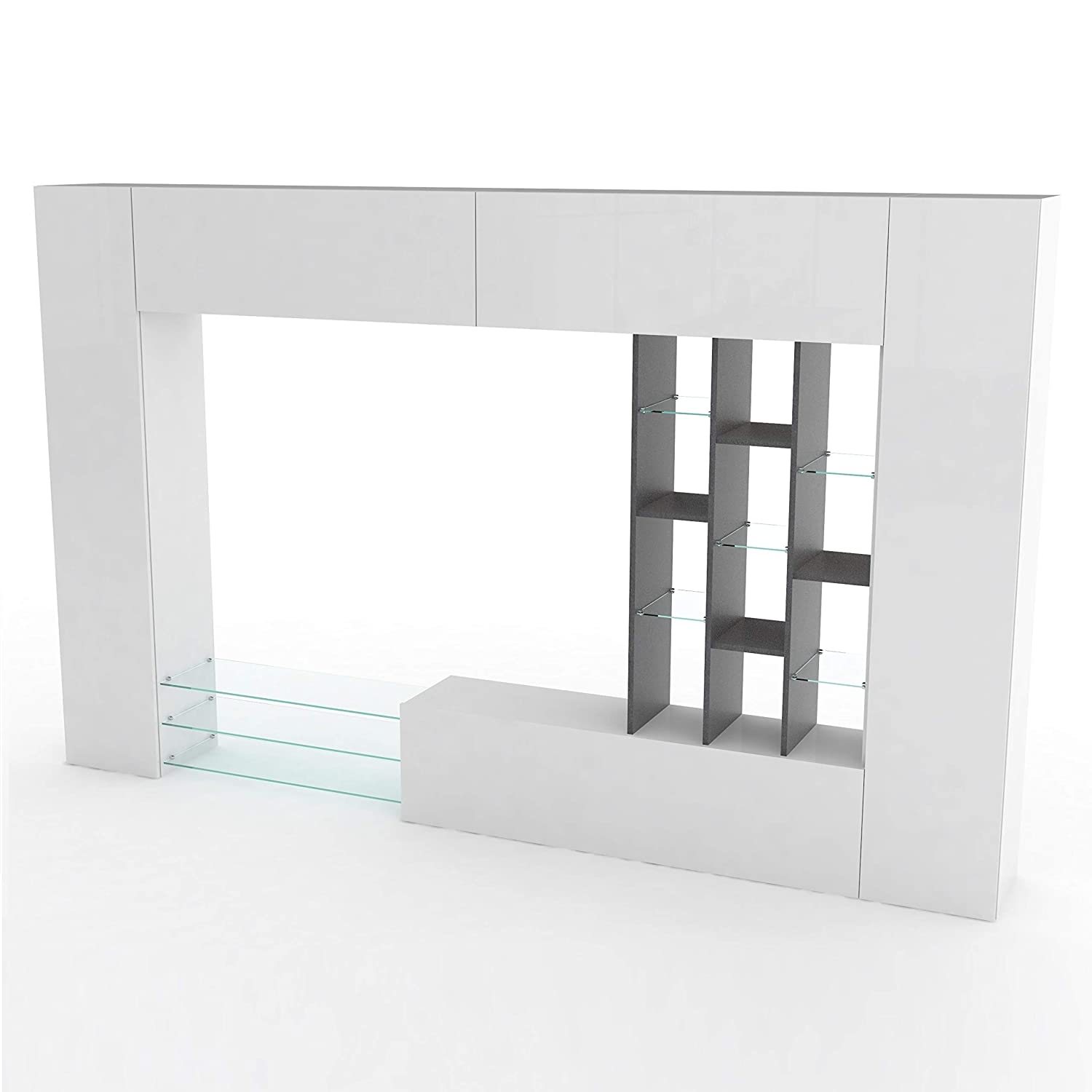 6a176448bd8 Amazon.com  Furniture.Agency White Gloss Full Wall Entertainment Center  with Led
