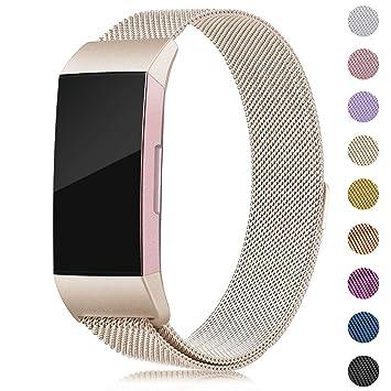 d3aefb2e2032 Onedream Compatible con Correa Fitbit Charge 3,Charge3 Pulsera Acero Mujer  Recambio Strap