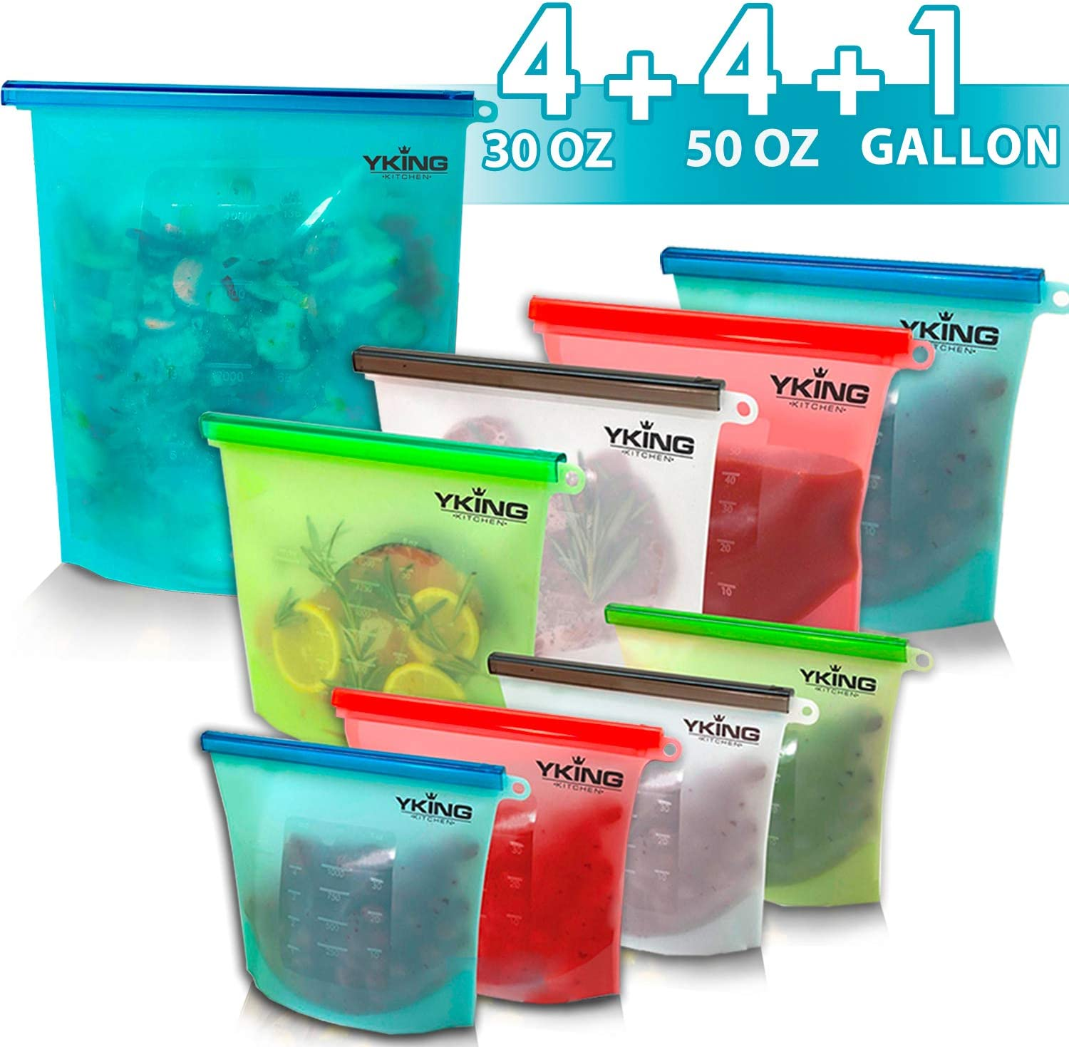 9 Pack Reusable Silicone Food Storage Bag 1 x Gallon size + 4 (50 OZ) + 4(30 OZ)- Freezer Bags - Sous Vide - Microwave - Dishwasher Safe - Leak Proof - Ziplock Large Freezer Bags