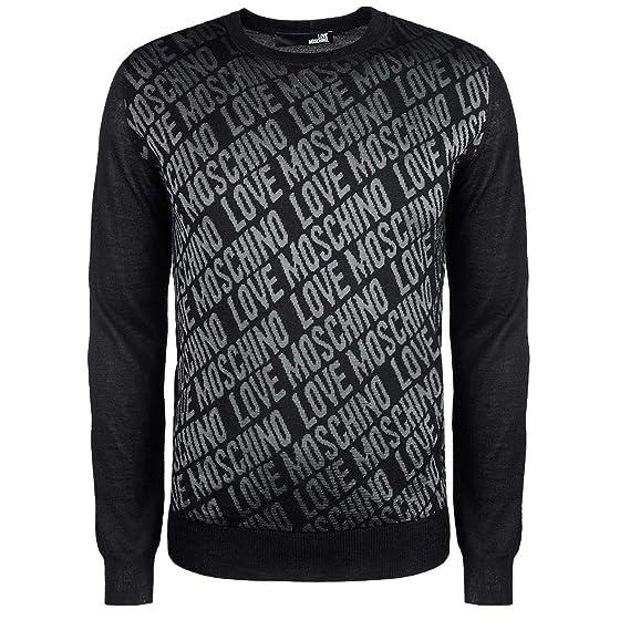 52026ee3a22 Love Moschino Pullover (M-295-Pu-54056) - L(UK)   L(IT)   L(EU) - Black-Grey   Amazon.co.uk  Clothing