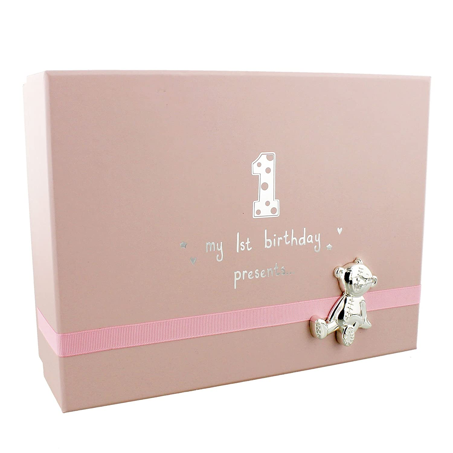 Baby Girls 1st Birthday Gift Keepsake Box With Teddy