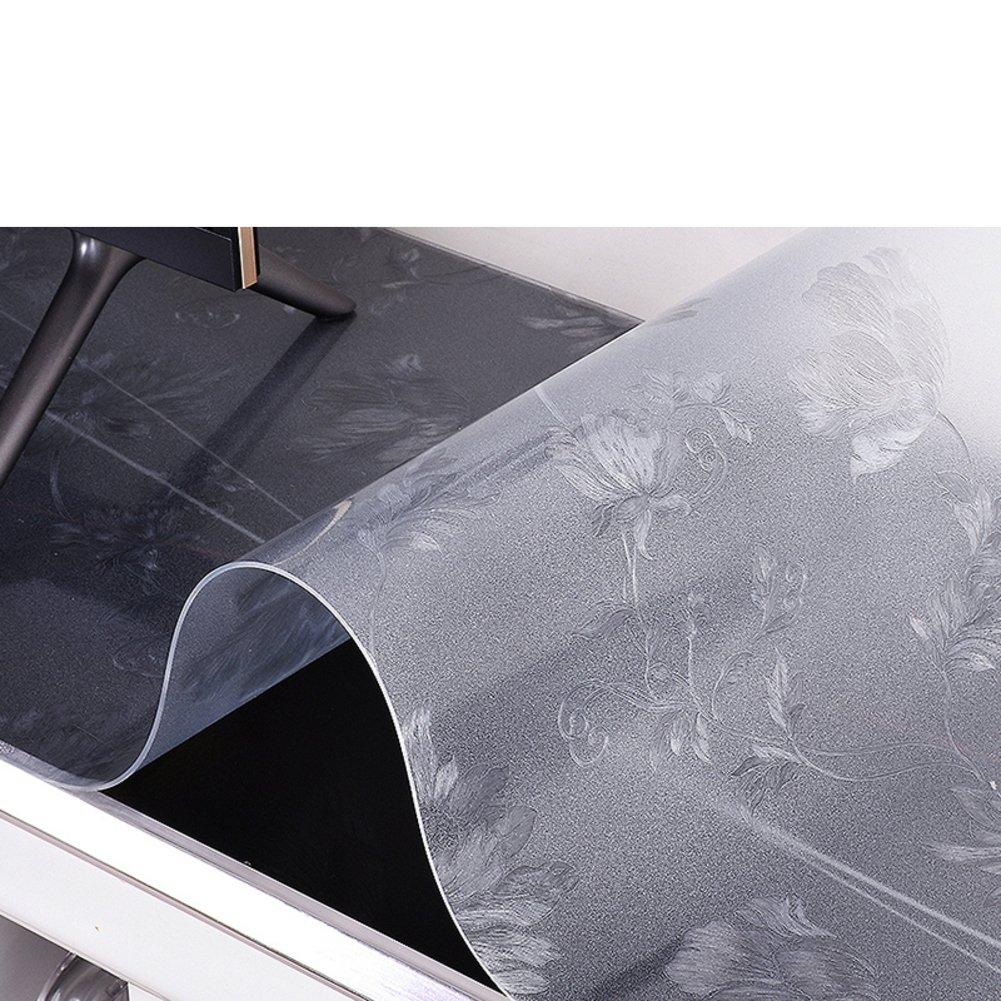 XKQWAN Tovaglia Impermeabile Burn-Proof Tea Table Mats Tovaglietta Stuoia di Tabella del PVC Rettangolo Vetro soffice Trasparente Plastica Anti-Olio tovaglia-J 80x130cm(31x51inch)