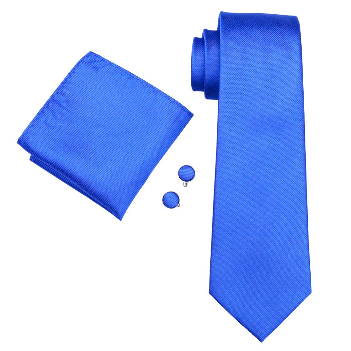Barry.Wang Mens Ties Classic Stripe Tie Set for Men Silk Woven Hanky Cufflinks FBASN--1489