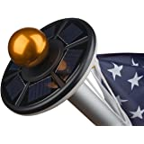 Sunnytech 2nd Generation Solar Flag Pole 20led Light,Brightest, Longest Lasting & Most Flag Coverage, Downlight Lights up Flag on Most 15 to 25 Ft Flagpole for Night Lighting White+Black Shell