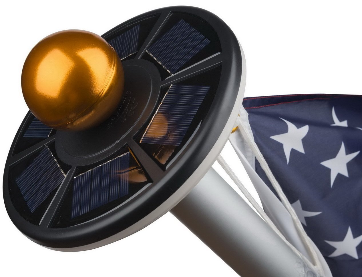 Sunnytech 2nd Generation Solar Flag Pole 20led Light,Brightest, Longest Lasting & Most Flag Coverage, Downlight Lights up Flag on Most 15 to 25 Ft Flagpole for Night Lighting White+Black Shell