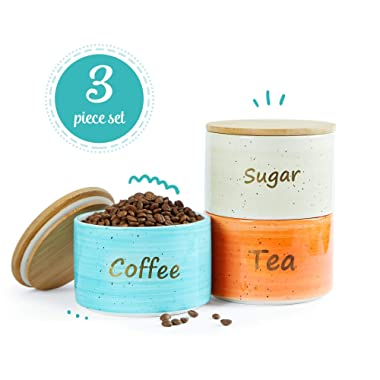 Uno Casa Ceramic Canister Set For Coffee Tea Sugar - 3 Piece Kitchen Storage Jars with Bamboo Airtight Lid - Suitable As Food Containers