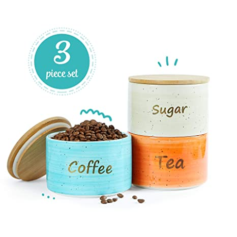 Uno Casa Ceramic Kitchen Canister Set With Airtight Lid 3 Piece For Coffee Tea Sugar 28 Oz