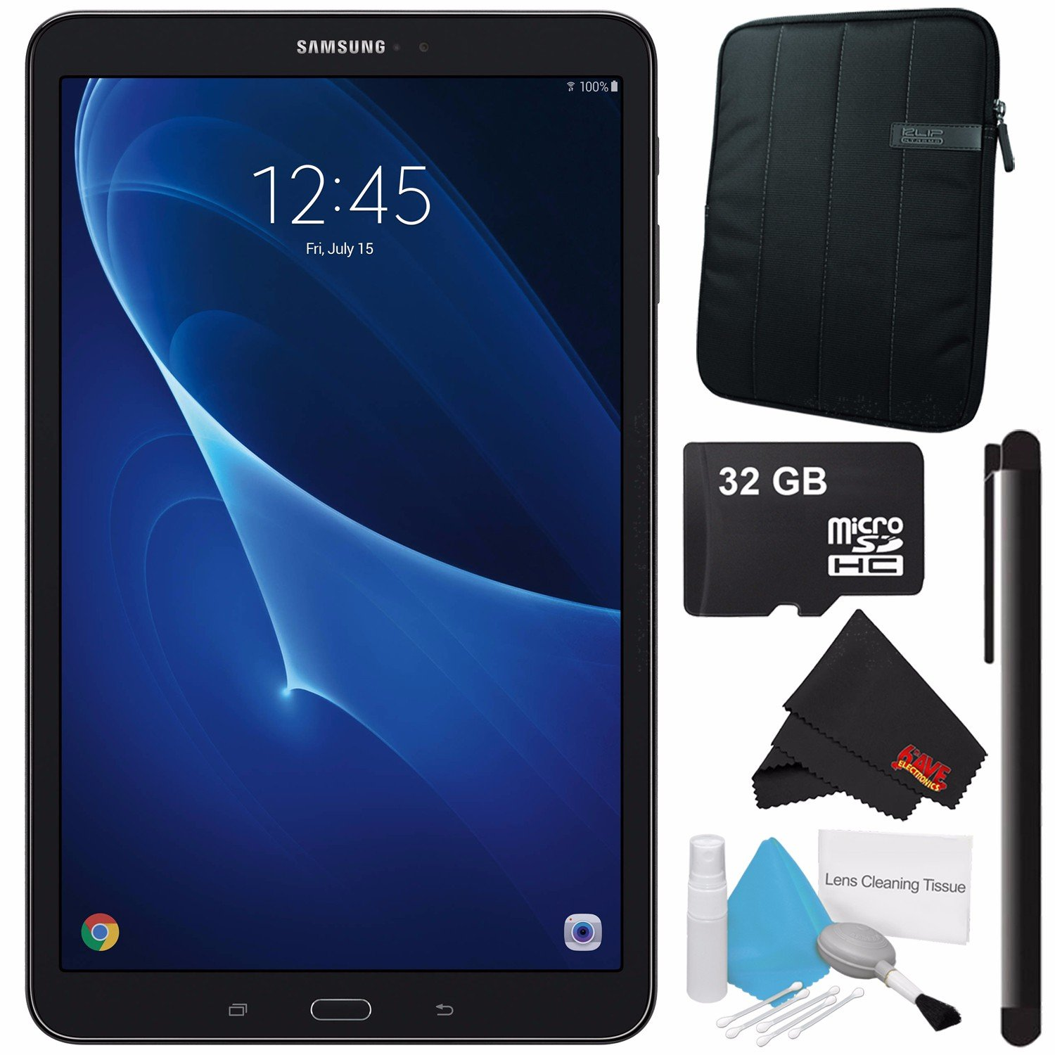 Samsung 10.1'' Galaxy Tab A T580 16GB Tablet (Wi-Fi Only, Black) SM-T580NZKAXAR + Universal Stylus for Tablets + Tablet Neoprene Sleeve 10.1'' Case (Black) + 32GB Class 10 Micro SD Memory Card Bundle by Samsung