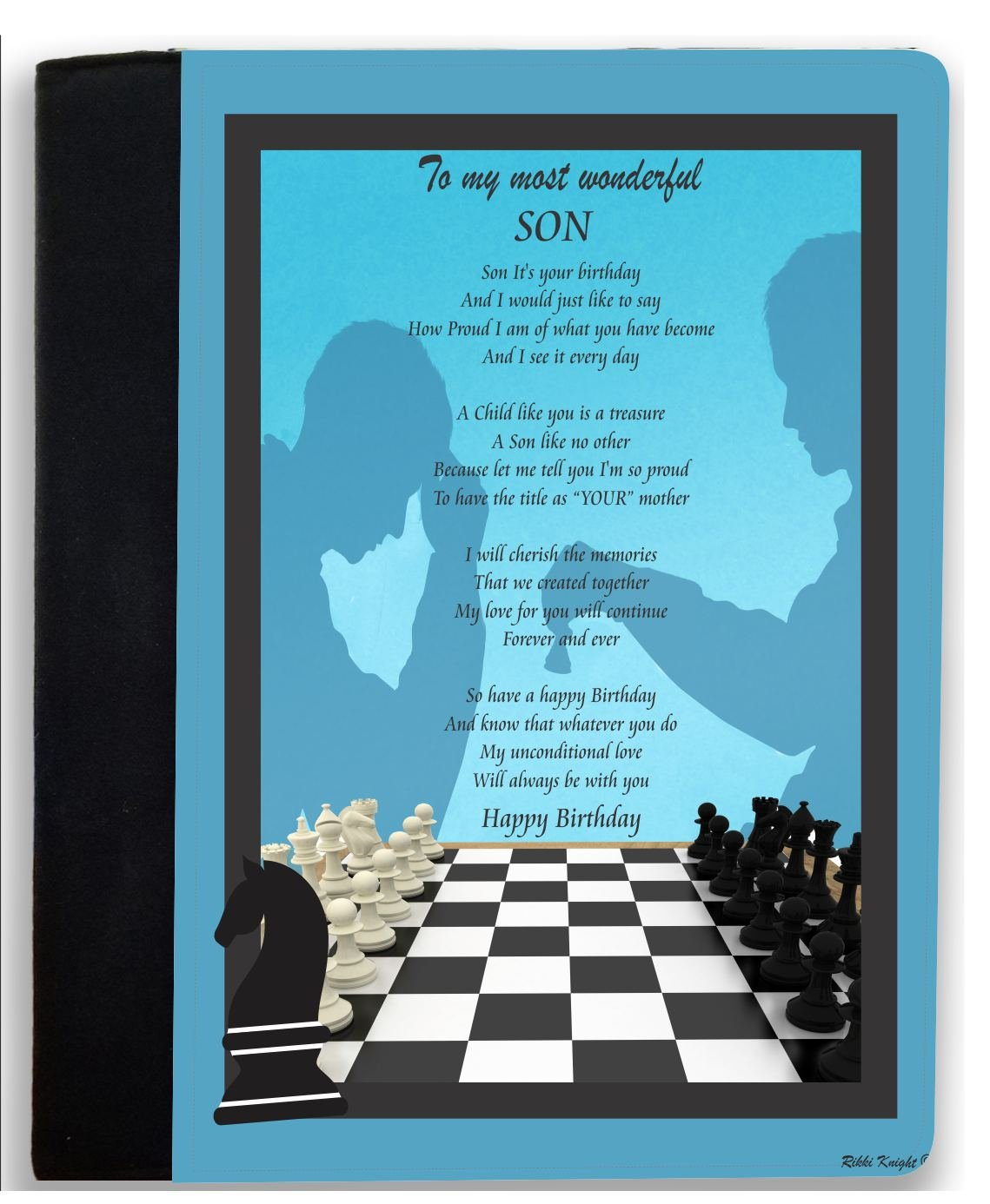 Rikki Knight Birthday Blessings to My Son (from Mom) Chess Gameboard Silhouette Blue Design Poem Notebook Portfolio Faux Suede (Notebook Included)