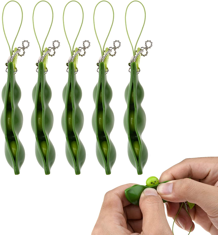 SnowCinda Fidget Toys, 5 Piece Squeeze-a-Bean Soybean Stress Relieving Keychain Mobile Chain Fidget, Green