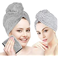 Hair Drying Towel, Organic Bamboo Hair Wrap Turban, Anti Frizz Super Quick Absorbent & Soft for Women Girl Wet/Long…