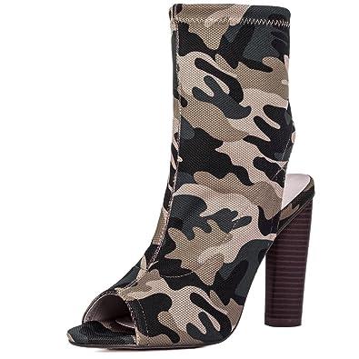 9b1a782013996 Amazon.com   Spylovebuy Open Peep Toe Block Heel Knit Ankle Boots ...