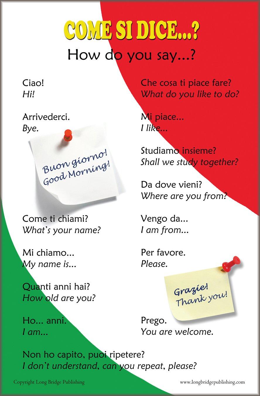 Amazon Italian Language Poster Greetings And Common Phrases