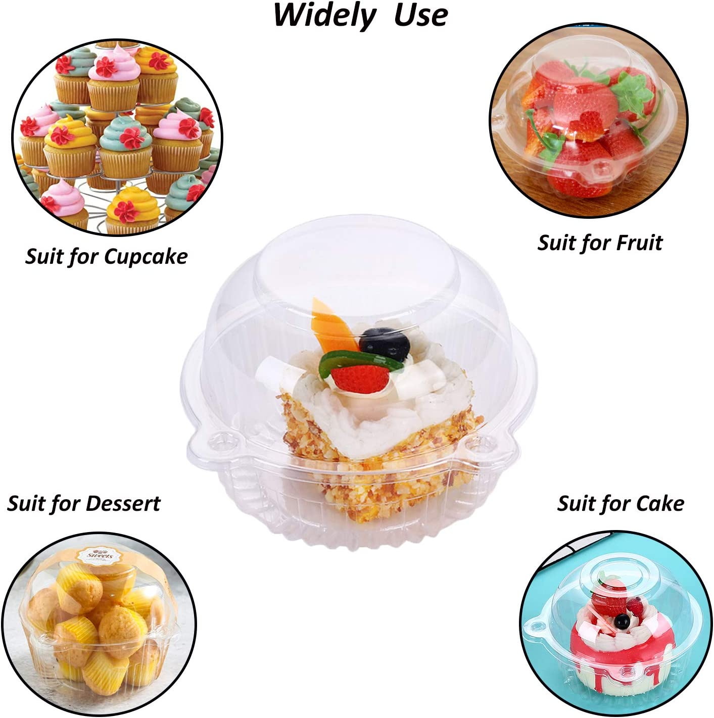 Party Stackable BPA-Free Clear Cupcake Holder Box with Deep Dome ...