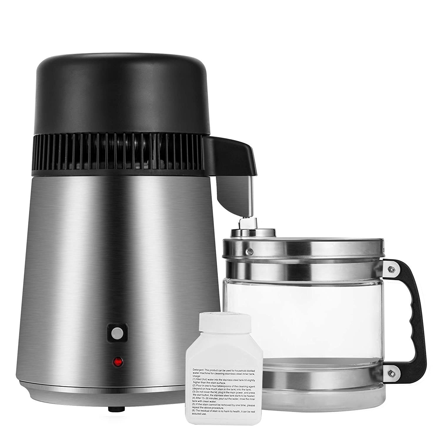 Gowintech 110V 750W 4L Brushed Stainless Steel Countertop Water Distiller Filter Machine with Glass Collection Carafe and 3 Charcoal Filters for Home Lab Dental Office