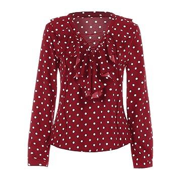 Las mujeres blusa Camisa, inkach elegante Niñas Loose Polka Dot Print Camisa de manga larga