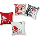 Set of 4, CaliTime Soft Canvas Throw Pillow Covers Cases for Couch Sofa Home Decor, Shadow Bird Tree Branches, 18 X 18 Inches, Red