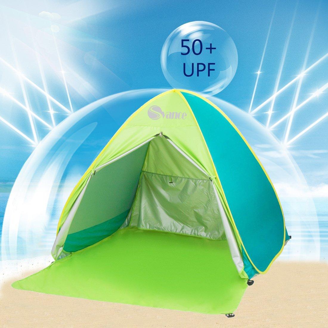 Camping Pesca jard/ín KKTECT Tienda Familiar de Playa Tienda de campa/ña de Sombra Ligera Anti-UV de 7 * 7 pies Tienda de Playa de f/ácil instalaci/ón Puede acomodar a 3-4 Adultos para Playa Picnic