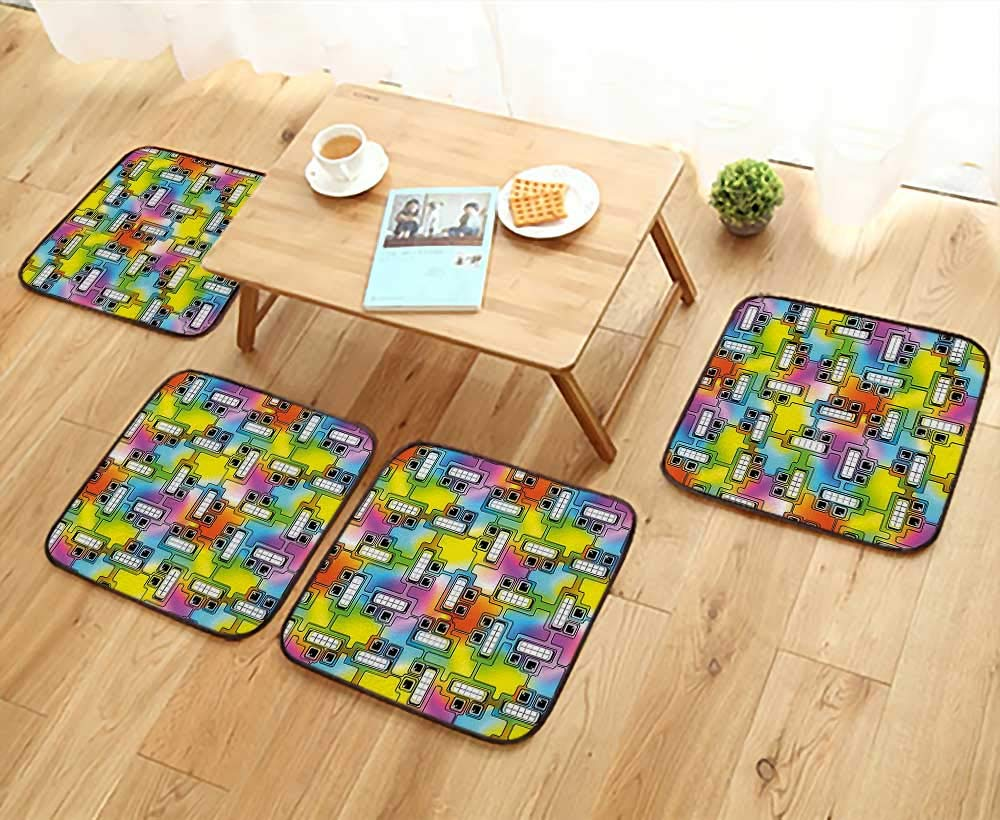 Leighhome Elastic Cushions Chairs Hippie Digital Fun Characters with Eyes and Teeth Video Games Art Pattern Multicolor for Living Rooms W29.5 x L29.5/4PCS Set