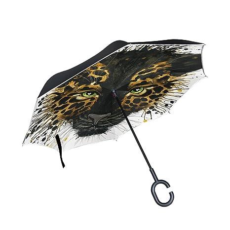 COOSUN Capa de acuarela Jaguar Negro doble del paraguas invertido inversa para el coche y el