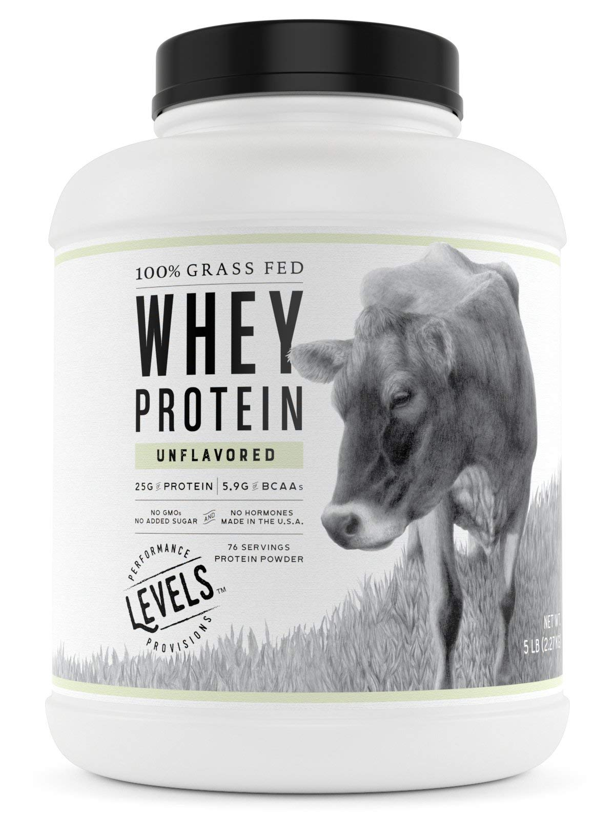 Levels 100% Grass Fed Whey Protein, No GMOs, Unflavored, 5LB by Levels Nutrition