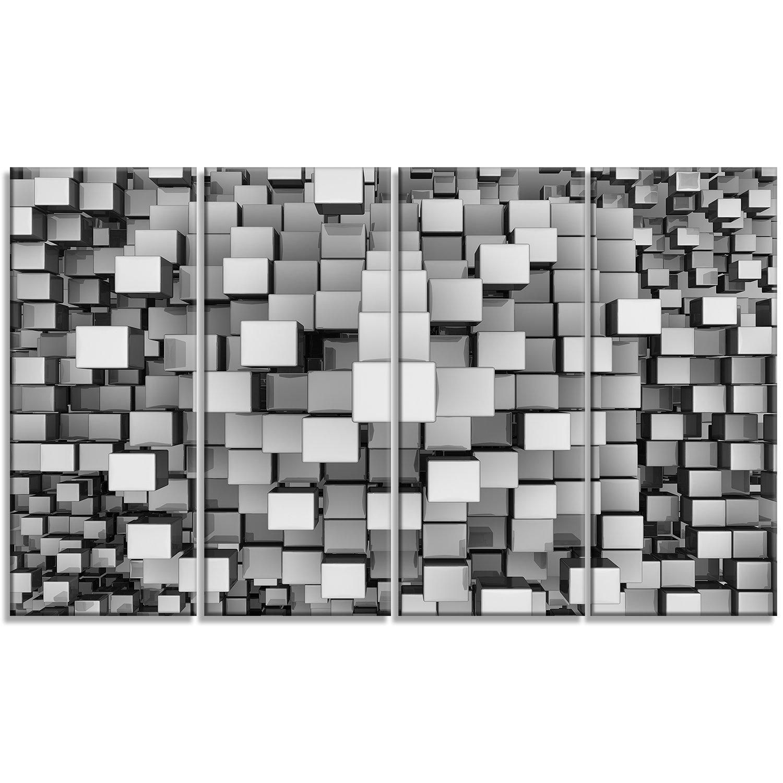 Designart Black and Grey Cubes-Contemporary Canvas Art Print-40x20, 40x20 Silver PT6830-40-20