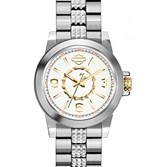 Image Unavailable. Image not available for. Color  Harley-Davidson Womens  Silver White Dial with Gold Gear Chain Inner Ring Watch fdadc7e145e