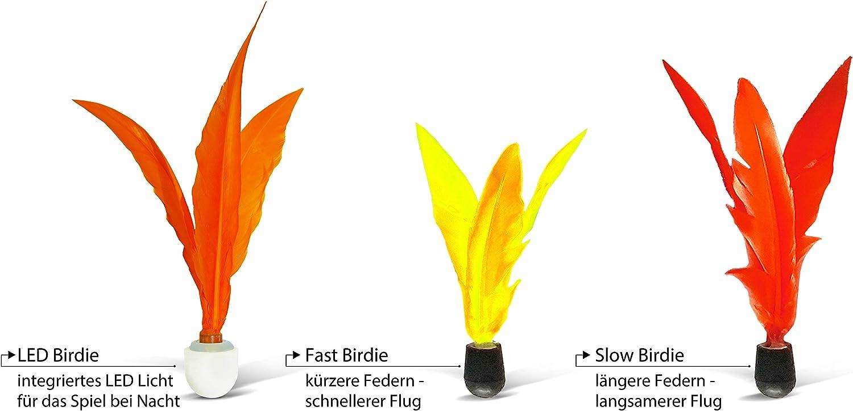 volants de remplacement lot de 3 pi/èces:  1 lent//1 rapide//1 LED pour le jeu de nuit 970156 Schildkr/öt JAZZMINTON BIRDIES