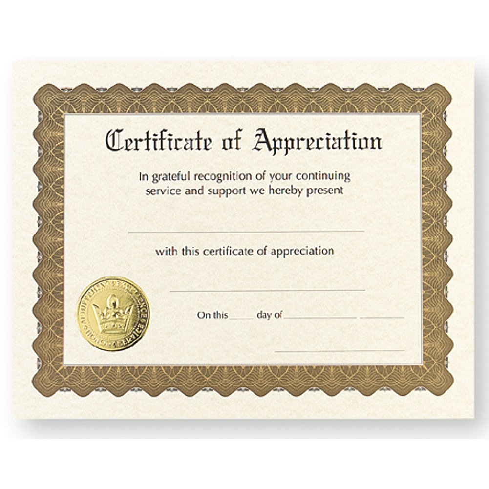 Amazon Certificate Of Appreciation Pack Of 12 Office Products