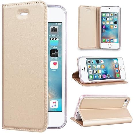 SmartLegend Kompatibel mit iPhone SE/5S/5 Hülle, PU Leder Handyhülle Gold Schutzhülle Brieftasche Lederhülle Klapphülle mit K