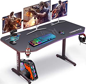 """Ergonomic Game Desk, T-Shaped PC Gamer Tables Worksatation for Home Office with Carbon Fiber Surface, Full Mouse Pad, Cup Holder, Headphone Hook, 2 Cable Management Holes, 62"""" W x 29"""" D, Black"""