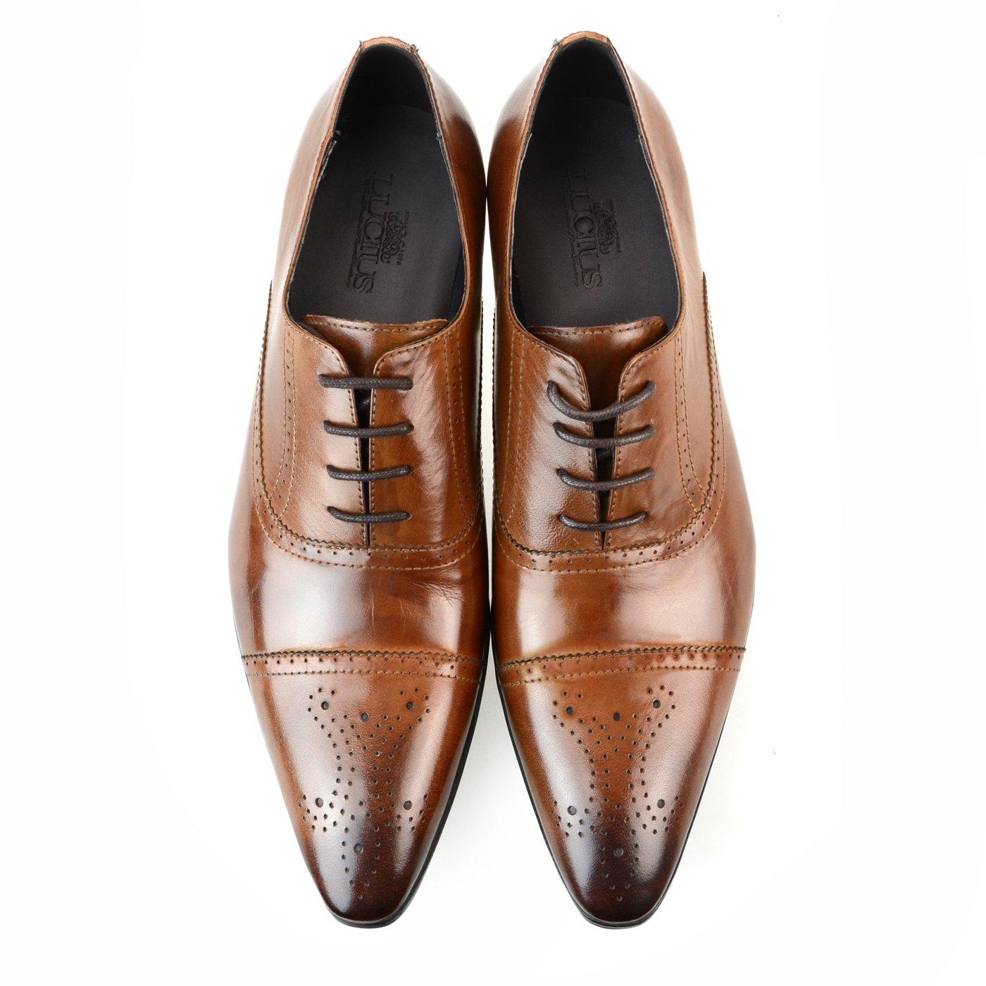 [ルシウス] ビジネスシューズ 革靴 メンズ 本革 レザー レースアップ ローファー スリッポン モンクストラップ 内羽根 外羽根 ロングノーズ ドレスシューズ ストレートチップ プレーントゥ Uチップ 春 靴 D [ ZNX91B ] LLT79-1 ブラウン 25.0 cm