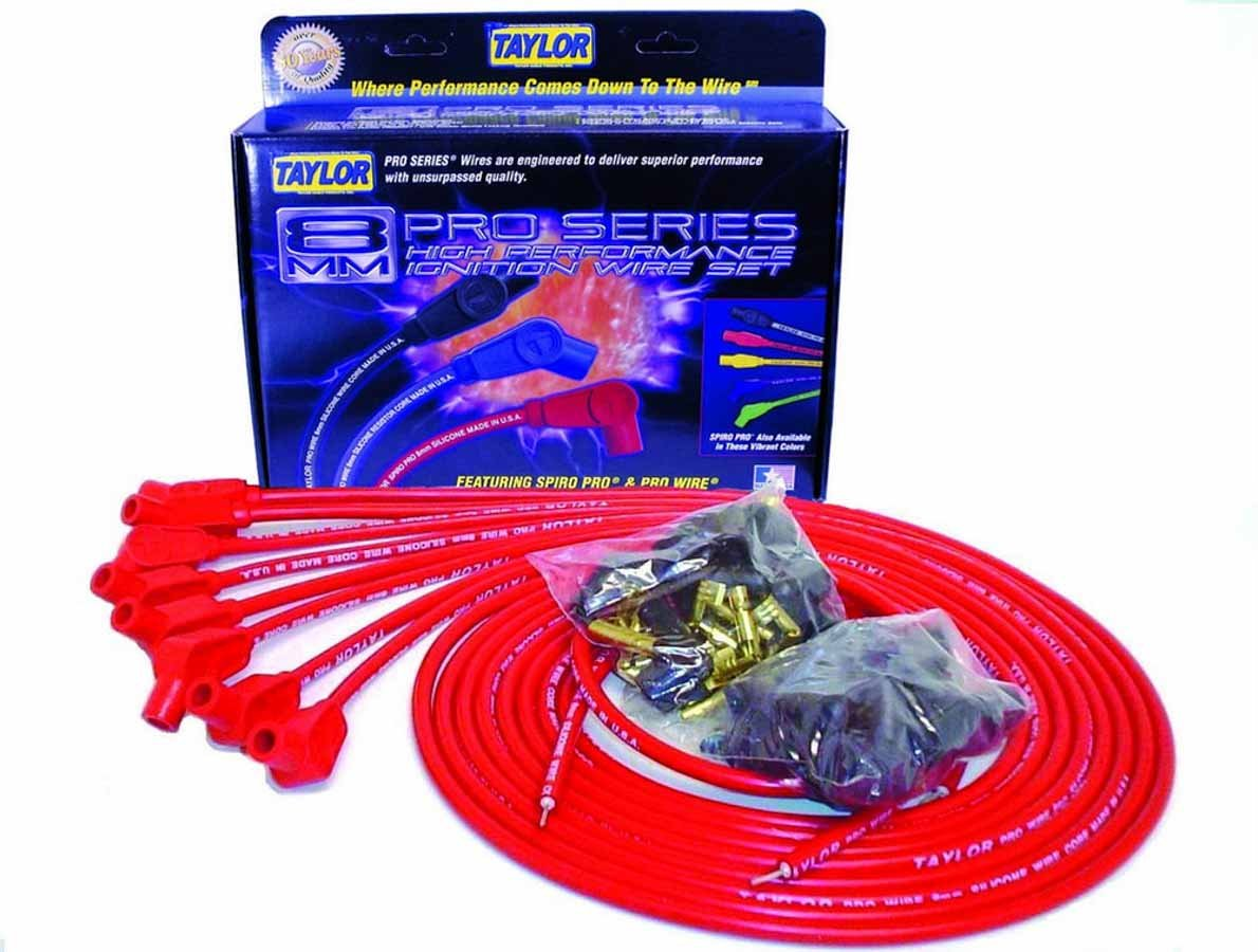 Taylor Cable 70252 8mm Pro Wire Red Spark Plug Wire Set