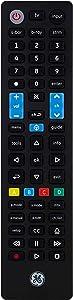 GE Universal Remote Control, Preset Samsung Replacement Remote, Compatible with Vizio, Sony, Sharp, Roku, Apple TV, RCA, Panasonic, Smart TVs, Streaming Players, Blu Ray, DVD, 4 Device, Black, 44235