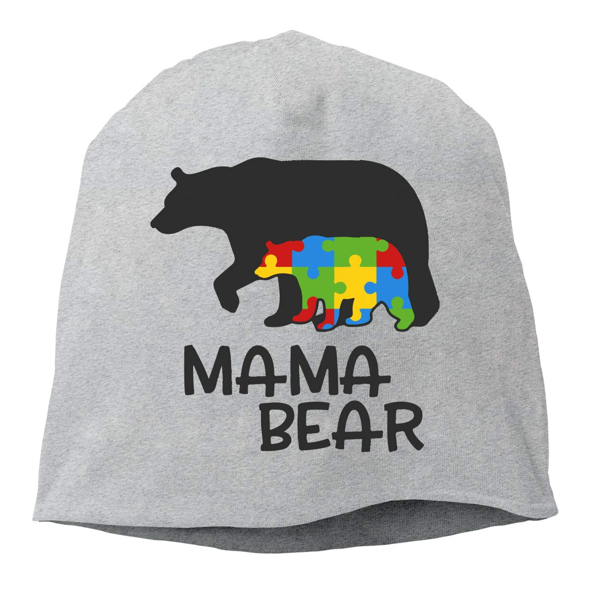 Winter Warm Knit Hat Autism Mama Bear Beanie Skull Cap for Women and Men